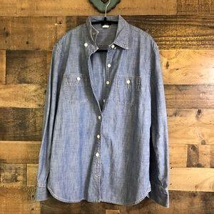 J Crew Denim Blue 100% Cotton Button Up
